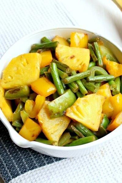 Green Bean Yellow Pepper Pineapple Stir Fry