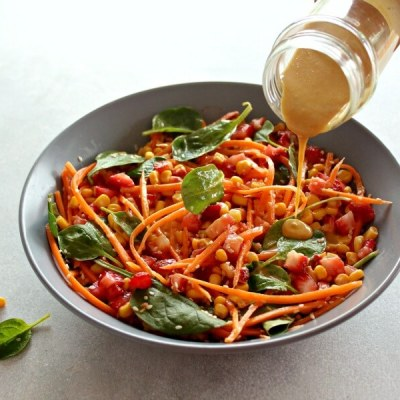 Asian Carrot Salad with Peanut Ginger Dressing