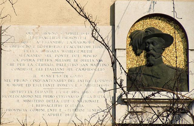 Lapide a Goito per la battaglia 8 aprile 1848