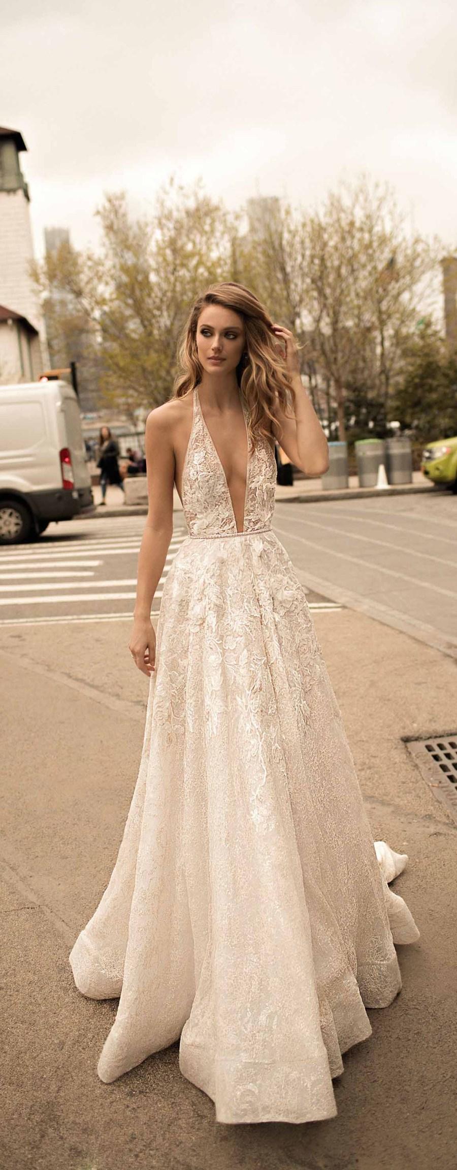 berta spring 2018 bridal spaghetti strap deep plunging v neck full embellishment sexy romantic a  line wedding dress open back chapel train (1) mv