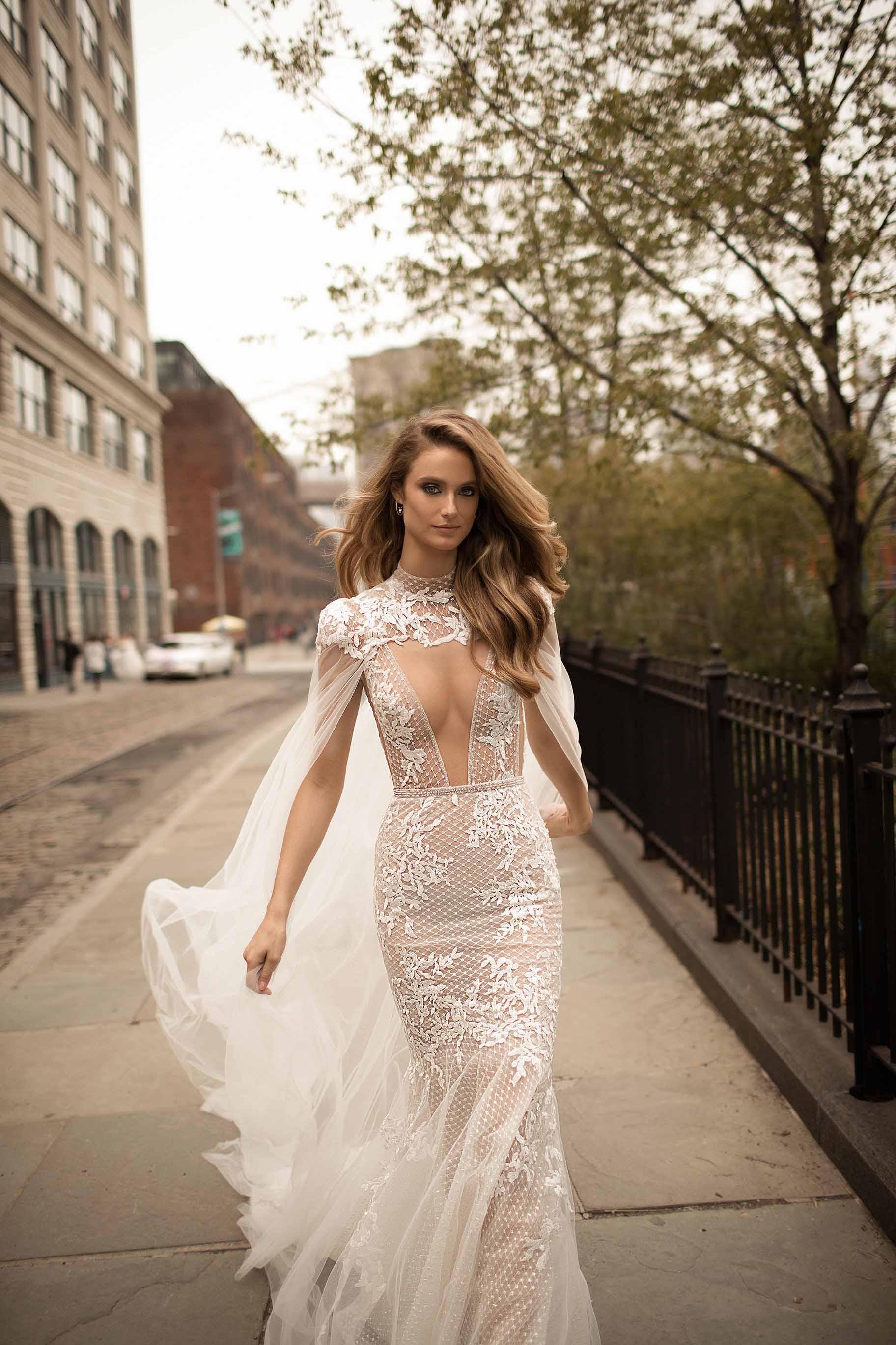 berta spring 2018 bridal spaghetti strap deep v neck full embellishment sexy romantic a  line wedding dress open back chapel train (2) zv