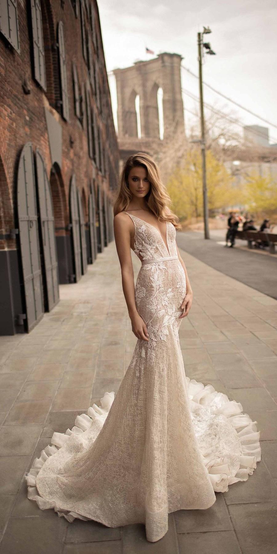 berta spring 2018 bridal sleeveless halter neck deep plunging v neck sexy romantic modified a  line wedding dress open back chapel train (5) bv