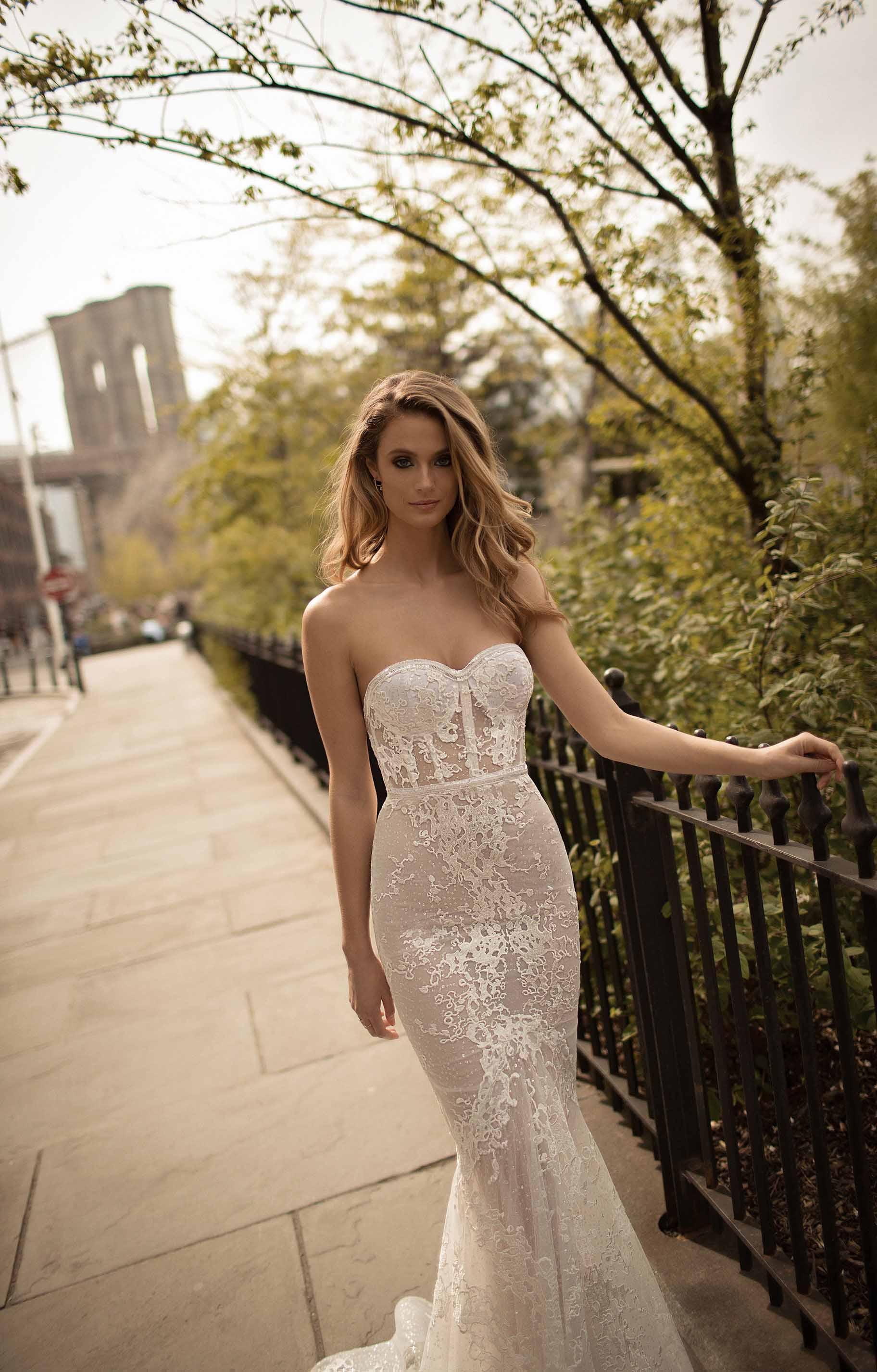 berta spring 2018 bridal strapless sweetheart neckline full embellsihement elegant sexy drop waist a  line wedding dress medium train (8) bv