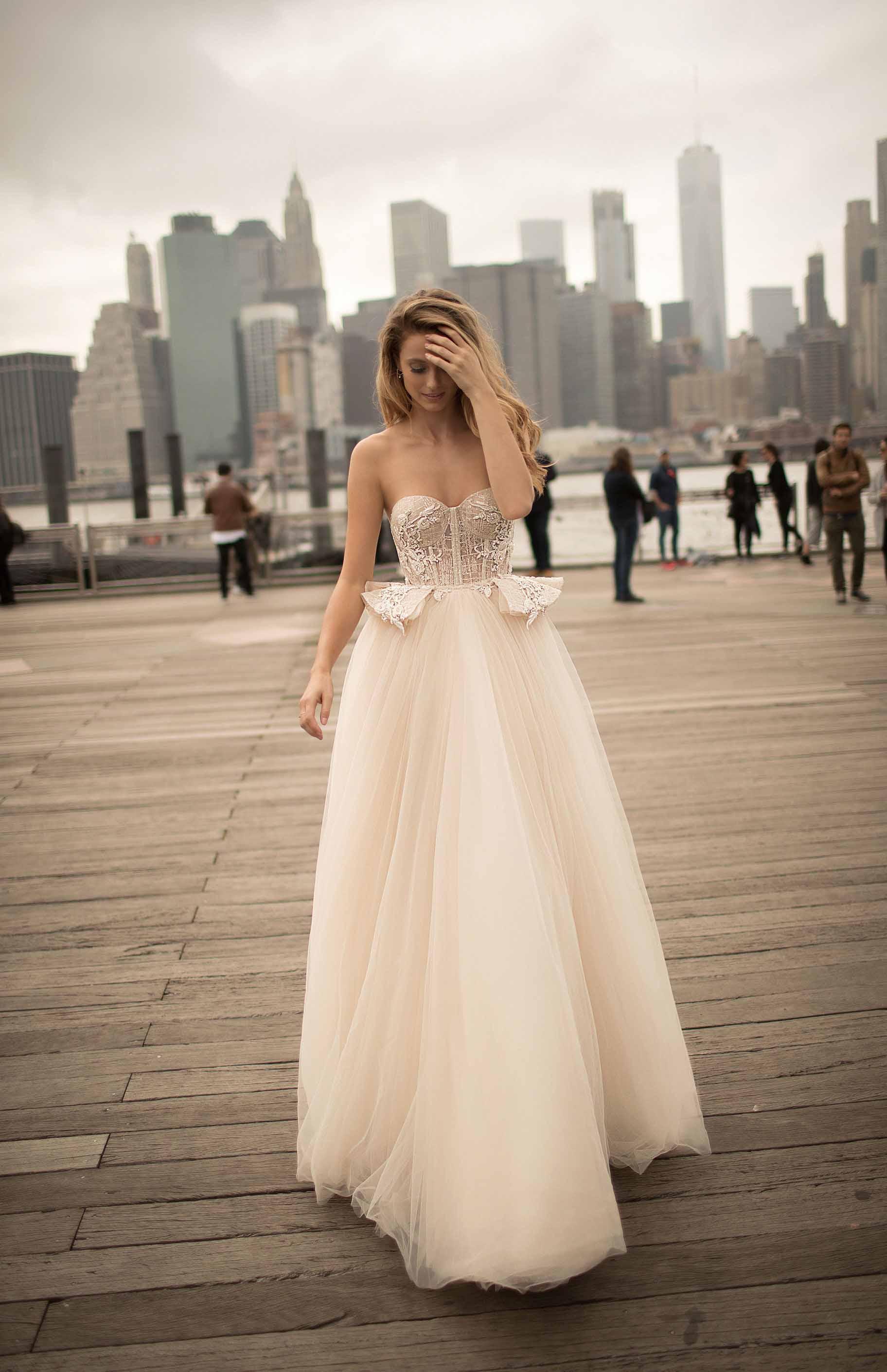 berta spring 2018 bridal long sleeves off the shoulder sweetheart neckline full embellishment sexy elegant fit and flare wedding dress open low back medium train (3) mv
