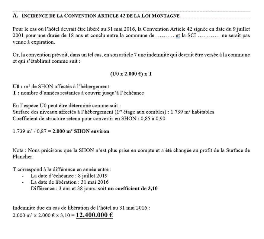 Exemple de calcul d'indemnité due dans le cas d'une rupture d'une convention article 42 loi Montagne