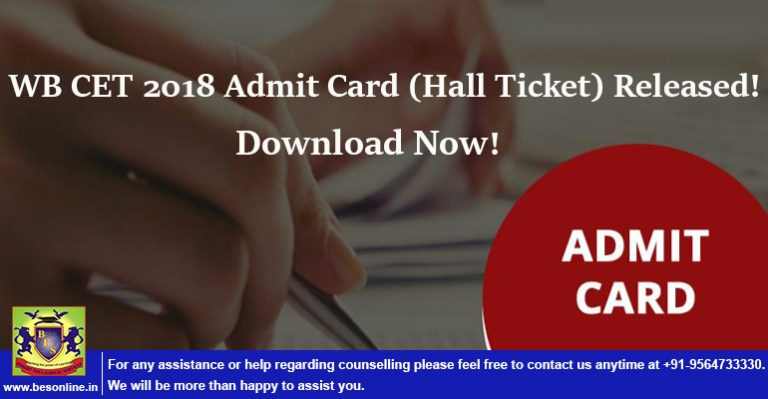 WB CET 2018 Admit Card (Hall Ticket) Released! Download Now!