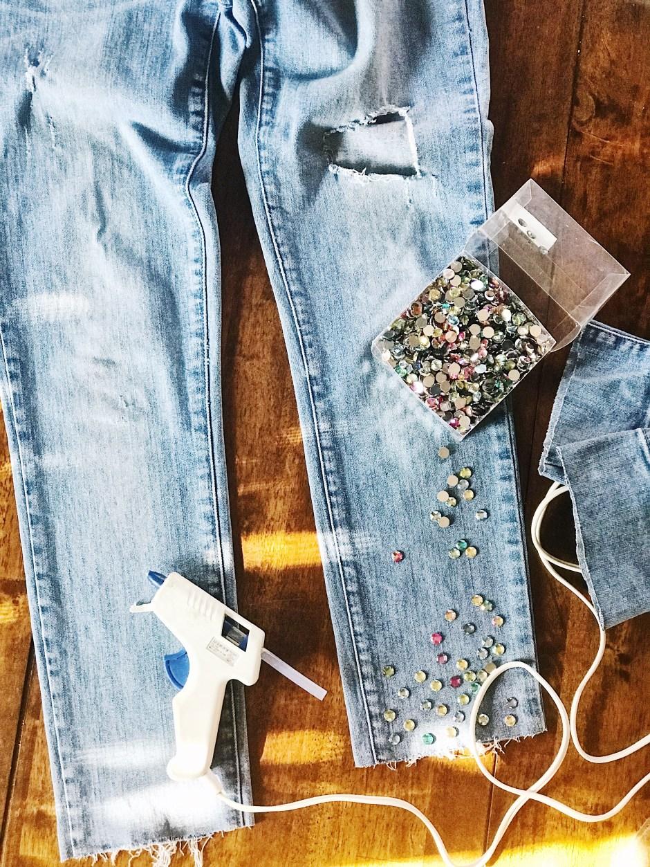 DIY embellished jeans