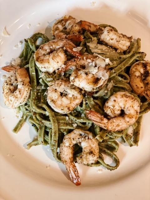 Grilled Shrimp with Pesto pasta