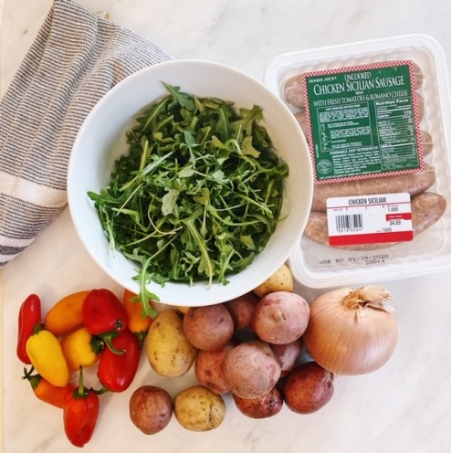 everything you need from trader joe's to make one skillet sausage and peppers