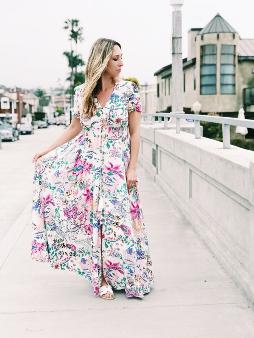 long summer floral maxi dress