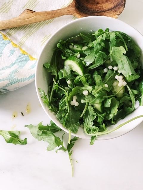 organic arugula salad with pearl couscous