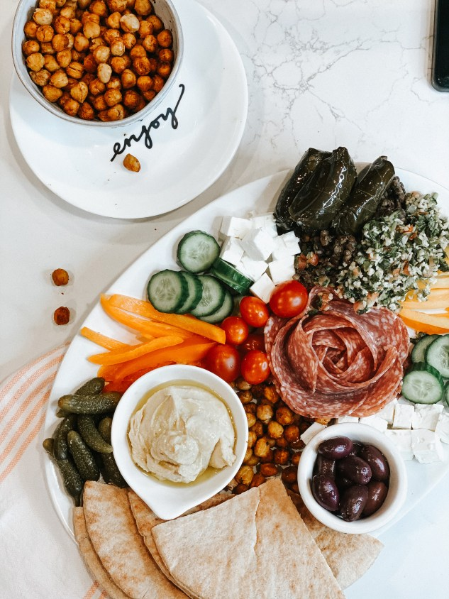 mezze plate with a salami rose