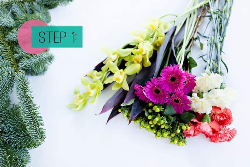 Step 1- Lay out flowers