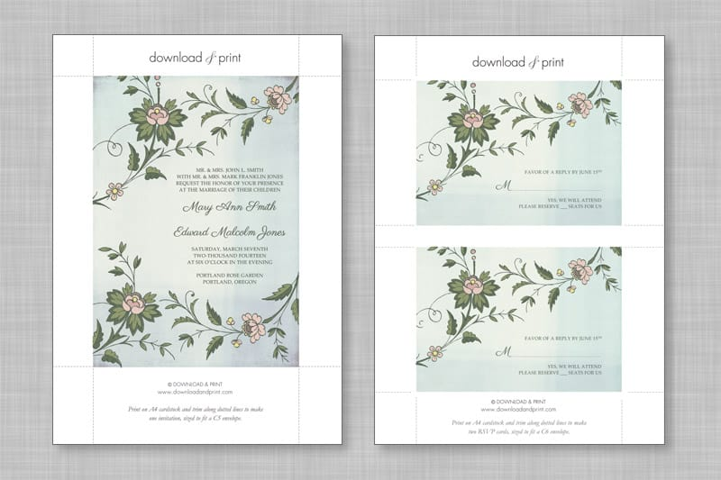 wedding diy free printable invitations rsvp bespoke bride