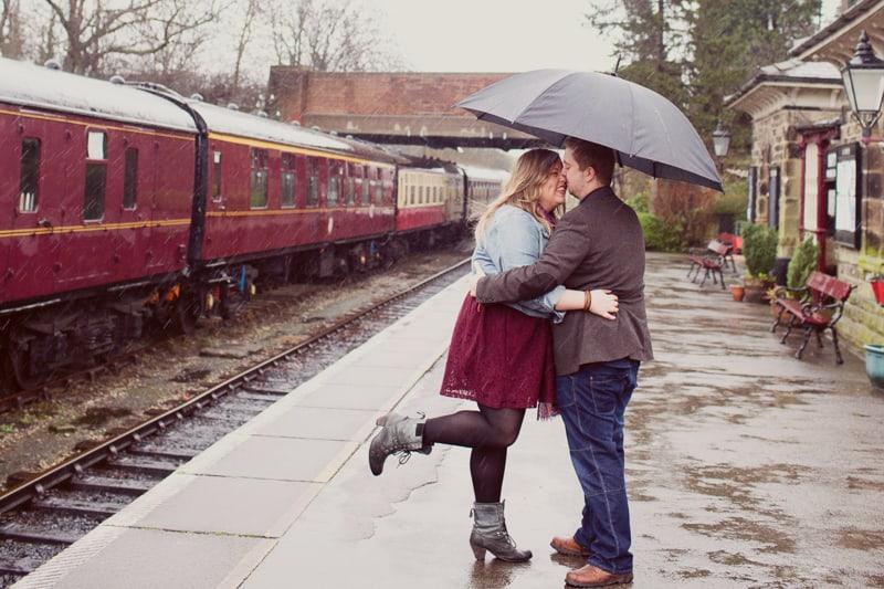 Vintage Train Engagement