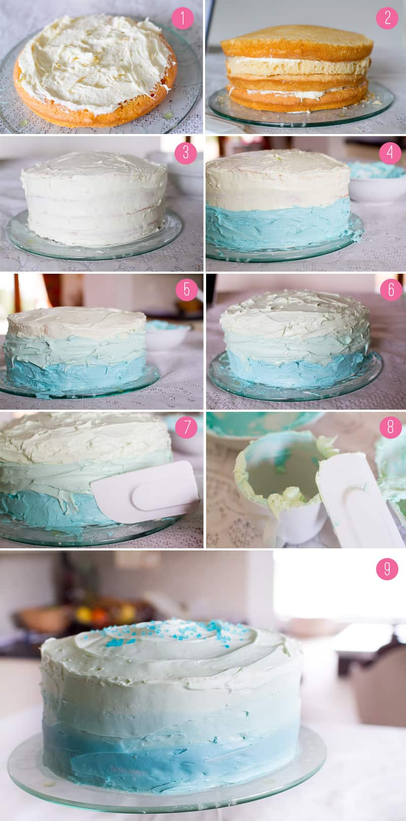 How To Ice An Ombre Cake Tutorial