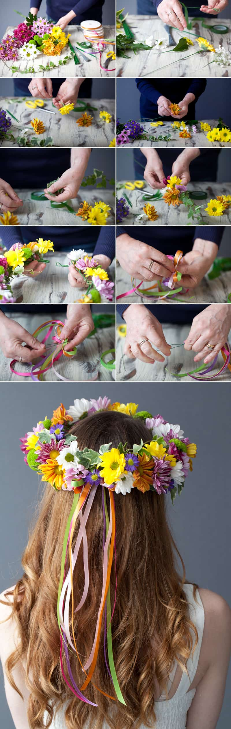 How to make a vibrant floral head crown bespoke bride wedding blog how to make a vibrant hair garland diy izmirmasajfo Choice Image