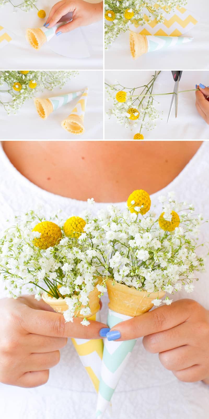 Ice cream cone bouquet DIY wedding blog