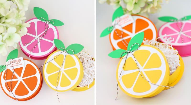 Citrus treat box diy favors