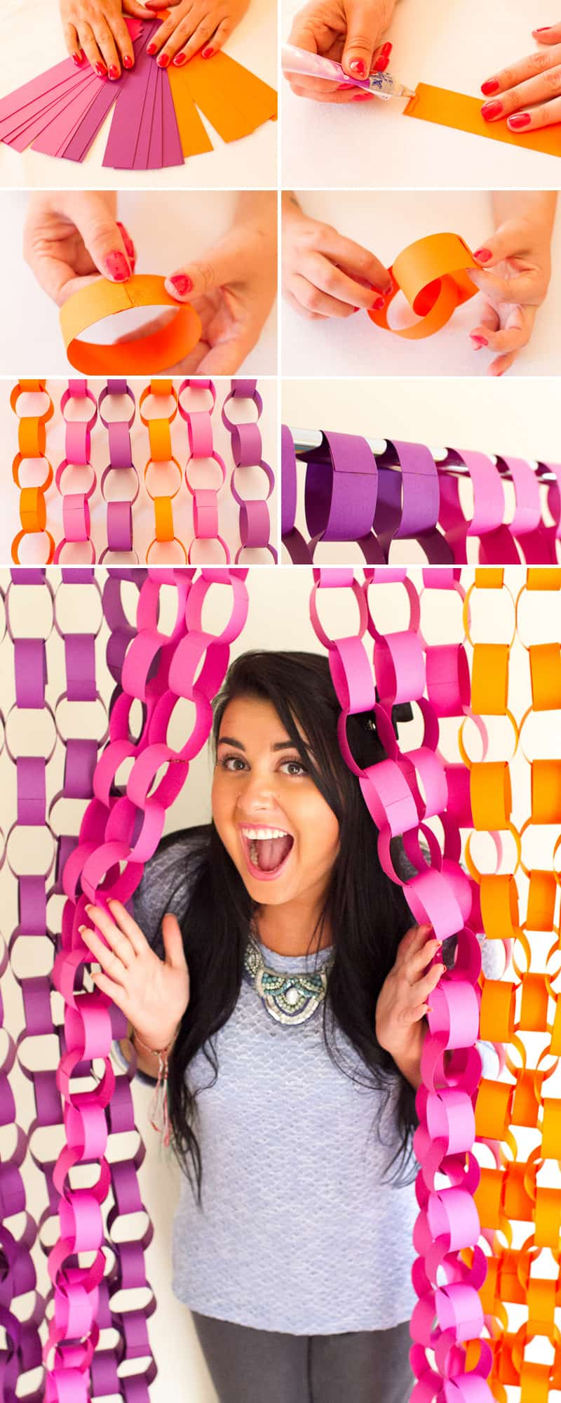 DIY Paper chain backdrop inspiration Collage