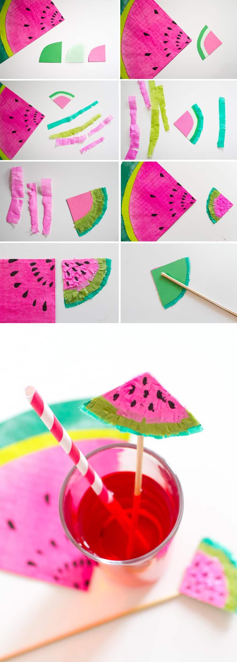 DIY Watermelon Drink Stirrers Collage