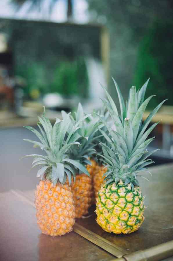 Fun pineapple wedding decor tropical