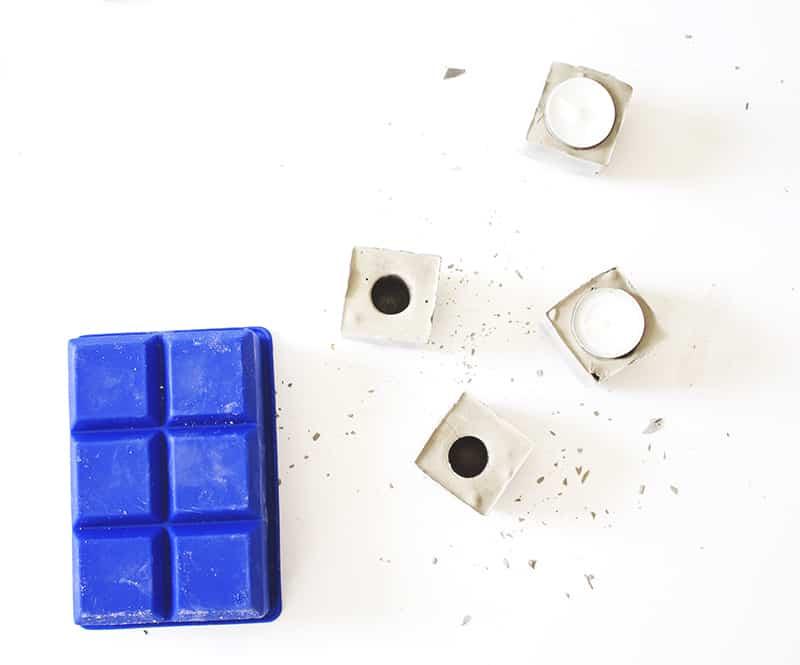 DIY Geometric Concrete Candle Holders (9)