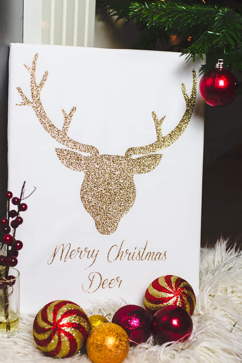 Christmas Canvas Art Reindeer Glitter Cricut Decoration-1
