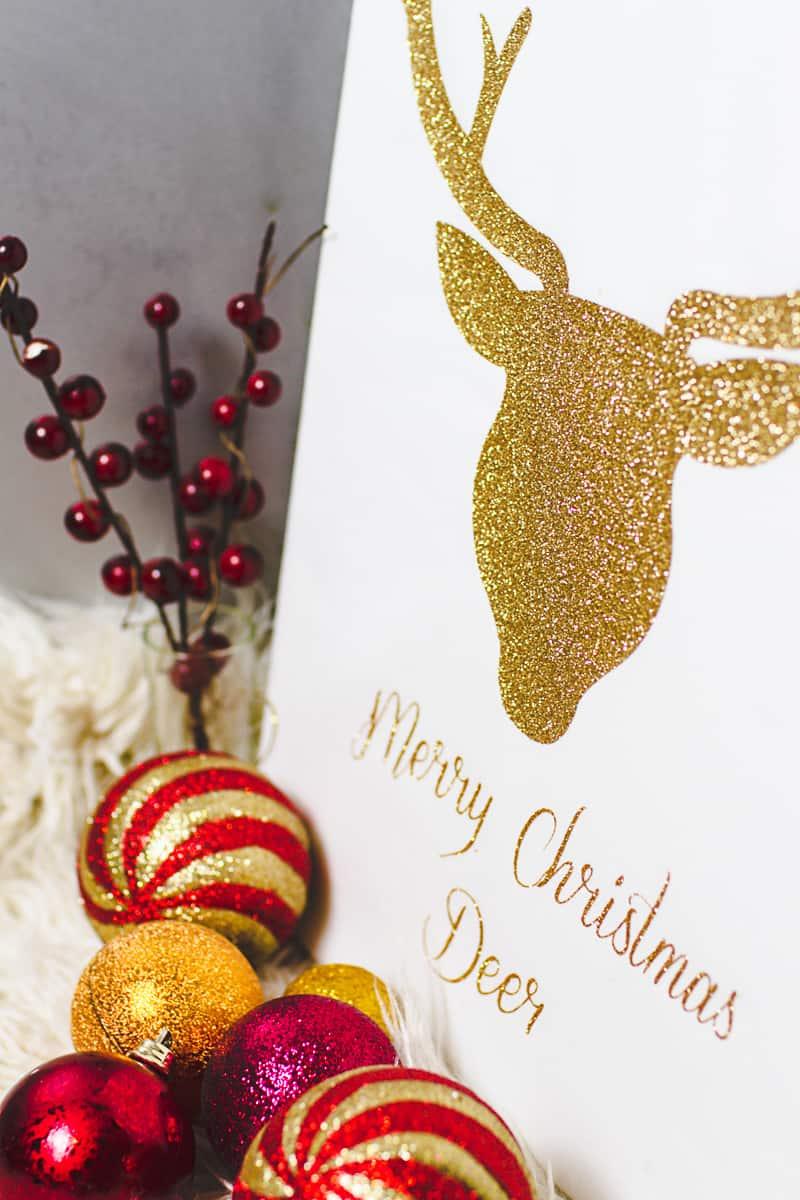 Christmas Canvas Art Reindeer Glitter Cricut Decoration-5