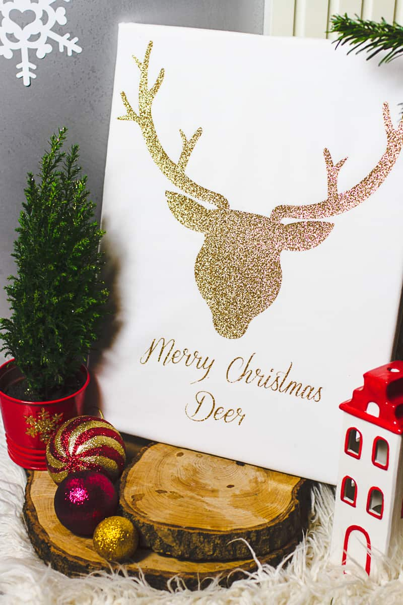 Christmas Canvas Art Reindeer Glitter Cricut Decoration-7