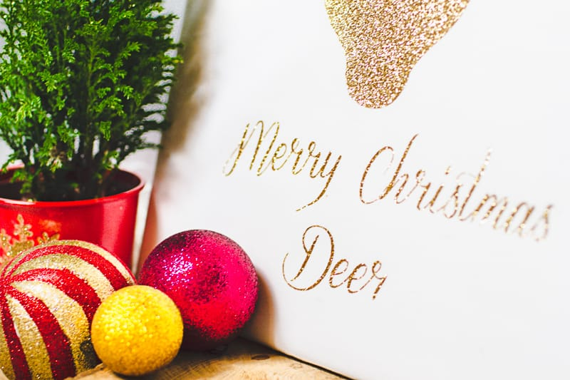 Christmas Canvas Art Reindeer Glitter Cricut Decoration-9