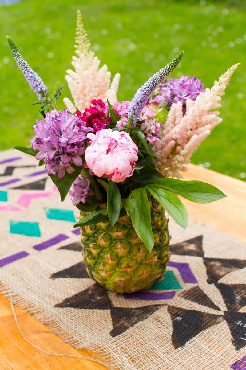 How to make a Pineapple vase and flower arrangement Centre Piece