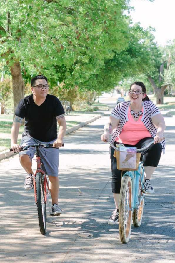 Quirky Engagement Shoot Librarian Fun Dogs Bike Ride 41