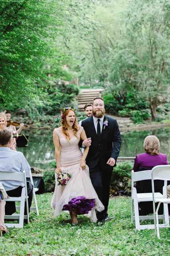 Close Knit Family & Friend DIY Wedding, Bride with Purple Petticoat (19)