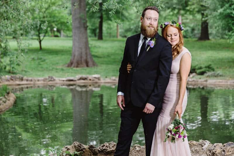 Close Knit Family & Friend DIY Wedding, Bride with Purple Petticoat (26)