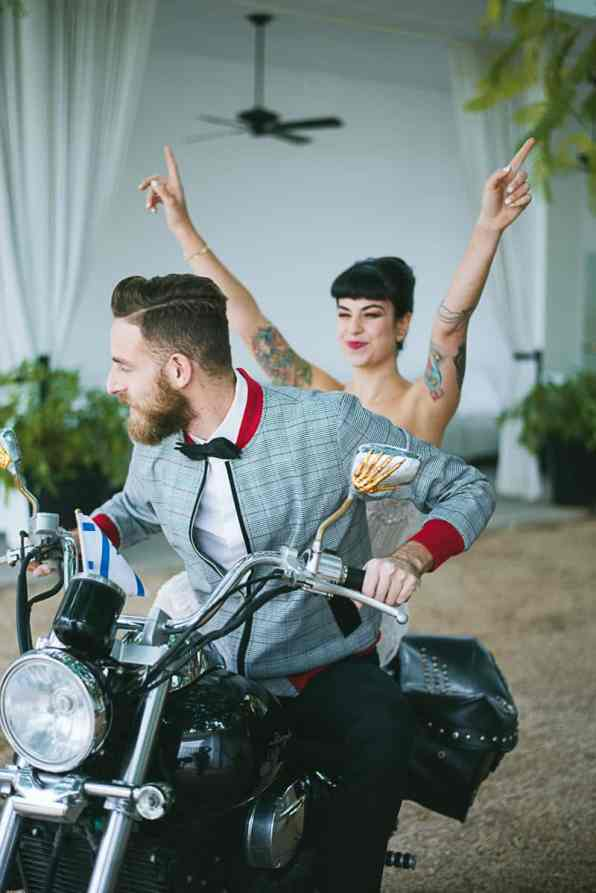 Winter Wedding Inspiration Style with Rockabilly Fashion from Zebra Music and Gold Antler Crowns Shoot-19