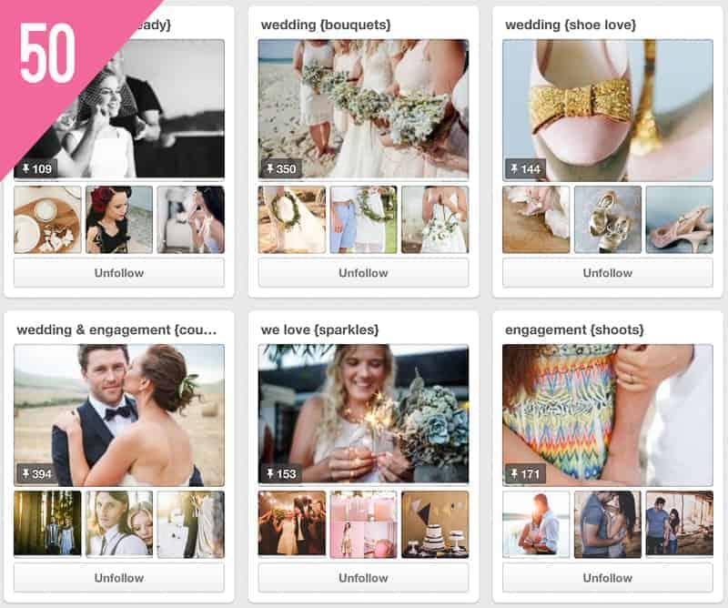 50 The Pretty Blog Wedding Inspiration Pinterest Accounts to Follow