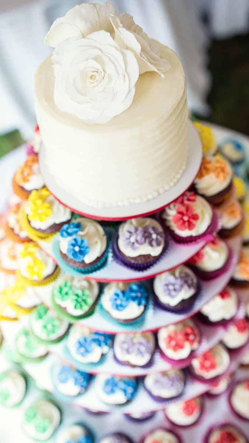 Colourful Cupcake Rainbow Wedding Cake Unique Alternative 2