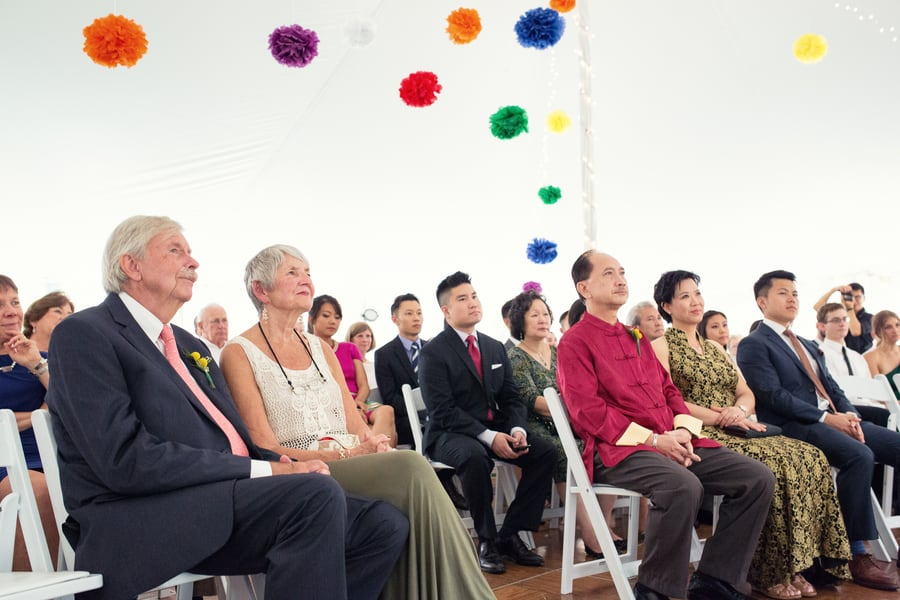 DIY Wedding with Coloruful Pompoms and rainbow backdrop 3