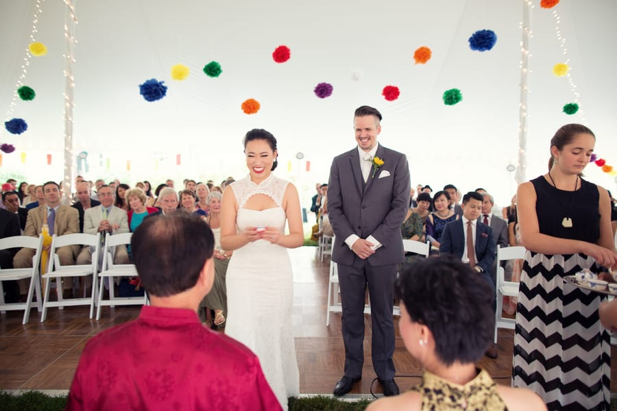 DIY Wedding with Coloruful Pompoms and rainbow backdrop 5