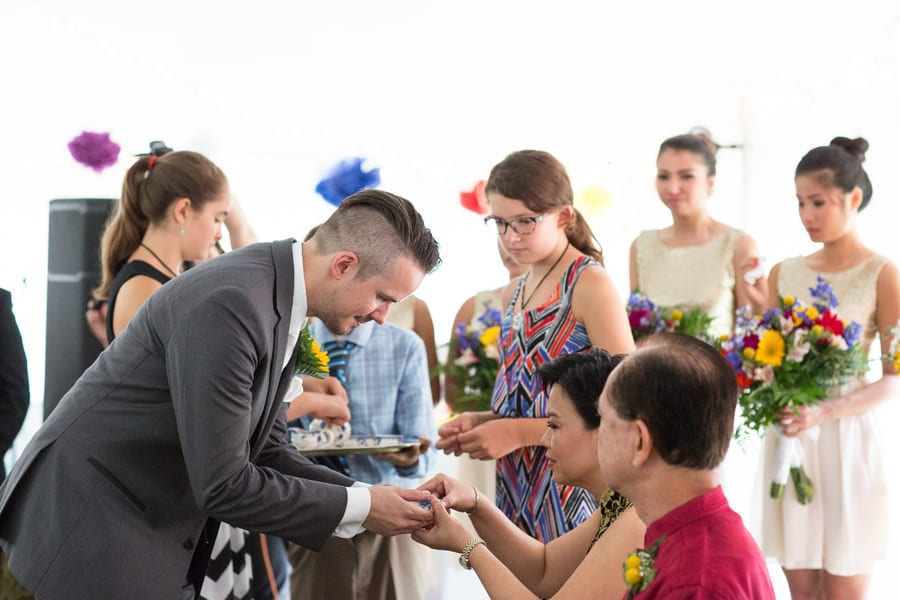 DIY Wedding with Coloruful Pompoms and rainbow backdrop 9