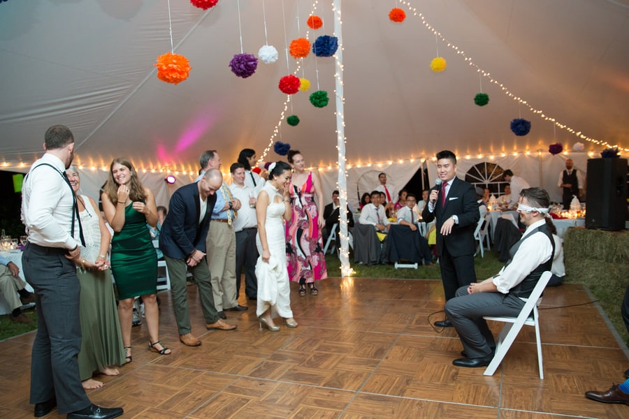 DIY Wedding with Coloruful Pompoms and rainbow backdrop Tent Marquee