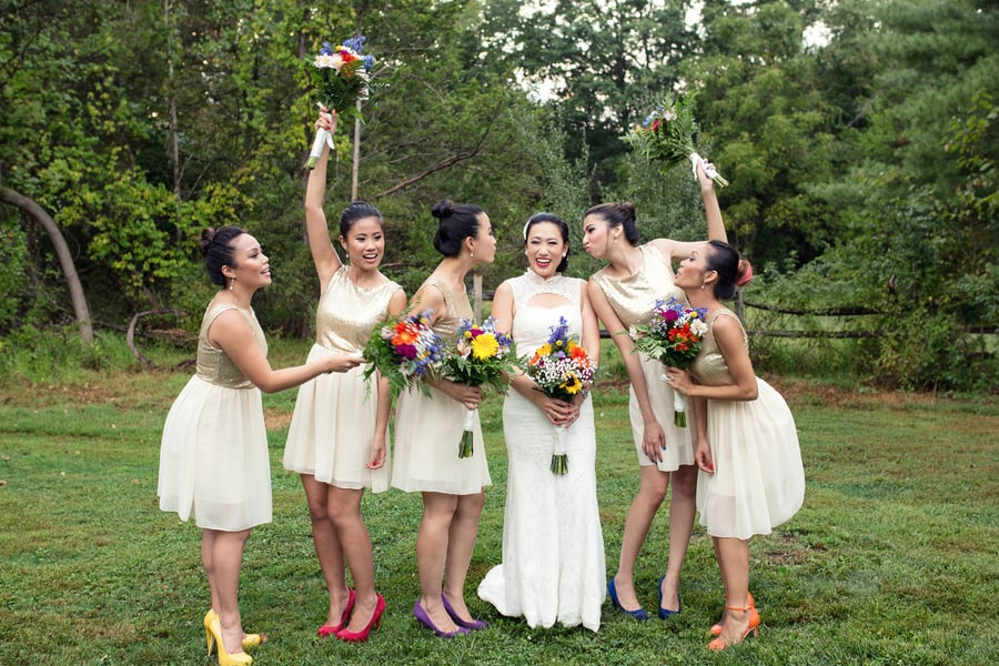 Gold Glitter Bridesmaids Dresses woth colourful rainbow shoes 2