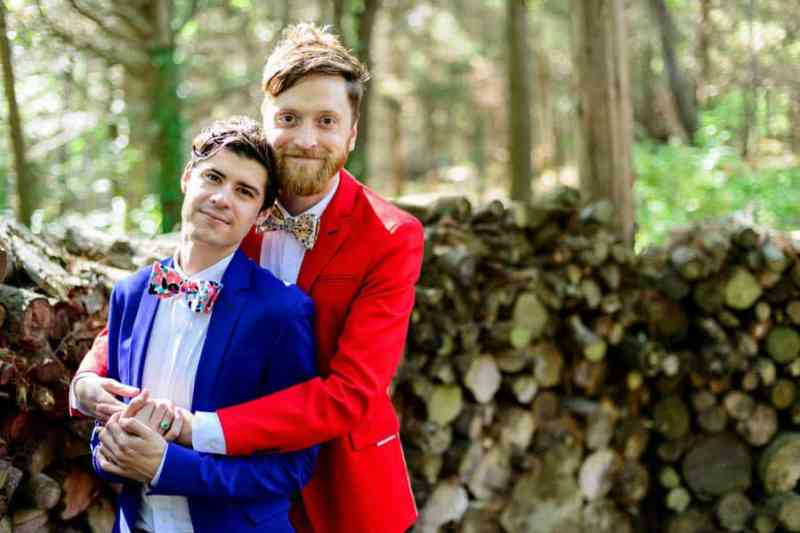 A SAME SEX COLOURFUL HANDMADE WEDDING AT A FOREST RETREAT IN Massachusetts (20)