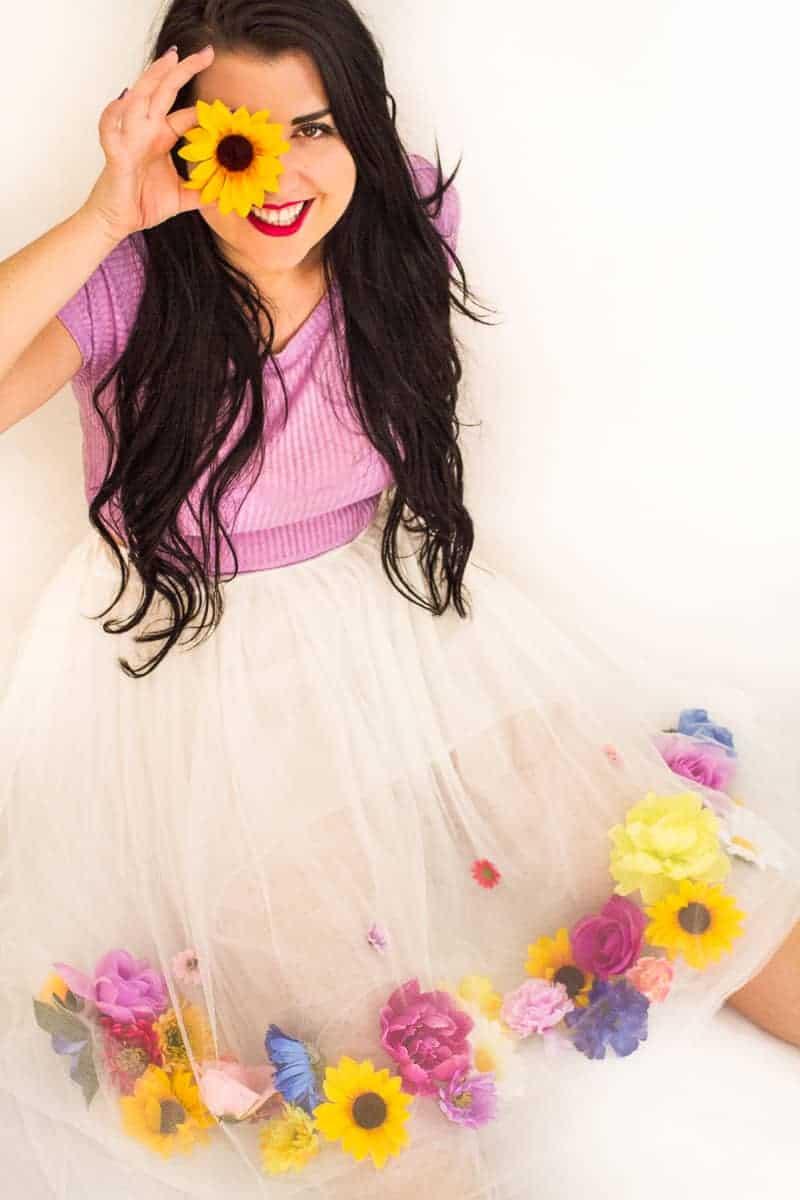 DIY Flower Tulle Skirt Tutorial Spring Summer Fashion Wedding do it yourself-12