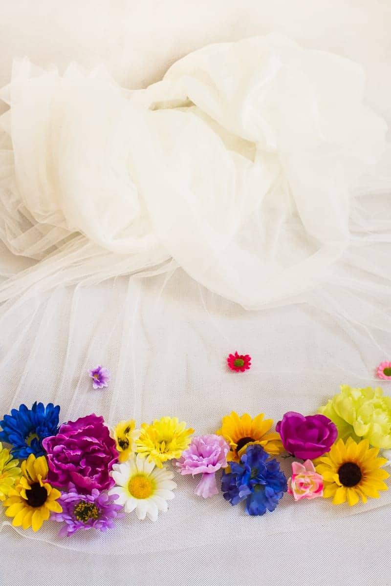 DIY Flower Tulle Skirt Tutorial Spring Summer Fashion Wedding do it yourself