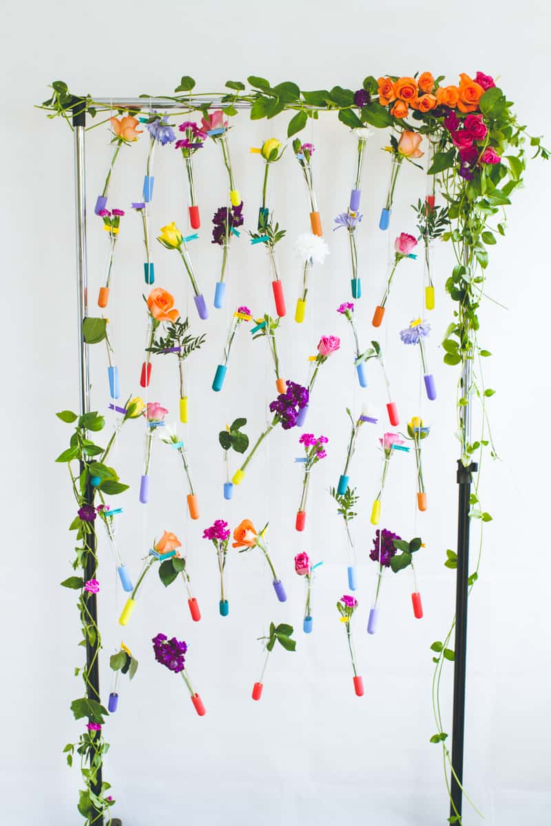 DIY Hanging Flower Test Tube Seating Plan Colourful Table Plan with Fresh Flowers-11