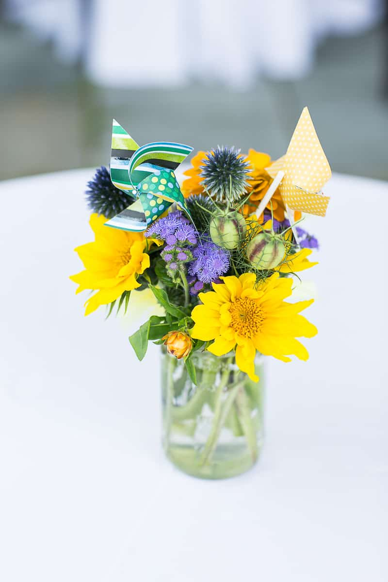 Pinwheel Themed Wedding with Colourful Sunflowers Backyard Inspiration-22