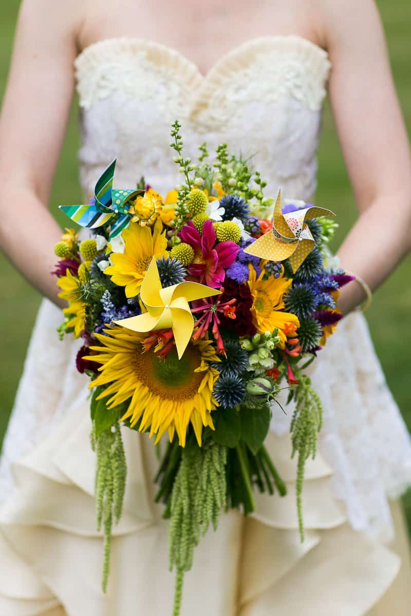 Pinwheel Themed Wedding with Colourful Sunflowers Backyard Inspiration-9