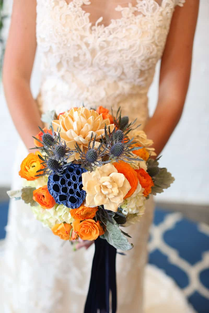 Whimsical Warehouse Wedding Inspiration with Bath tub bride orange navy colour scheme-3